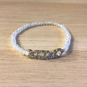 Jewelry - White faceted bead infinity stretch bracelet